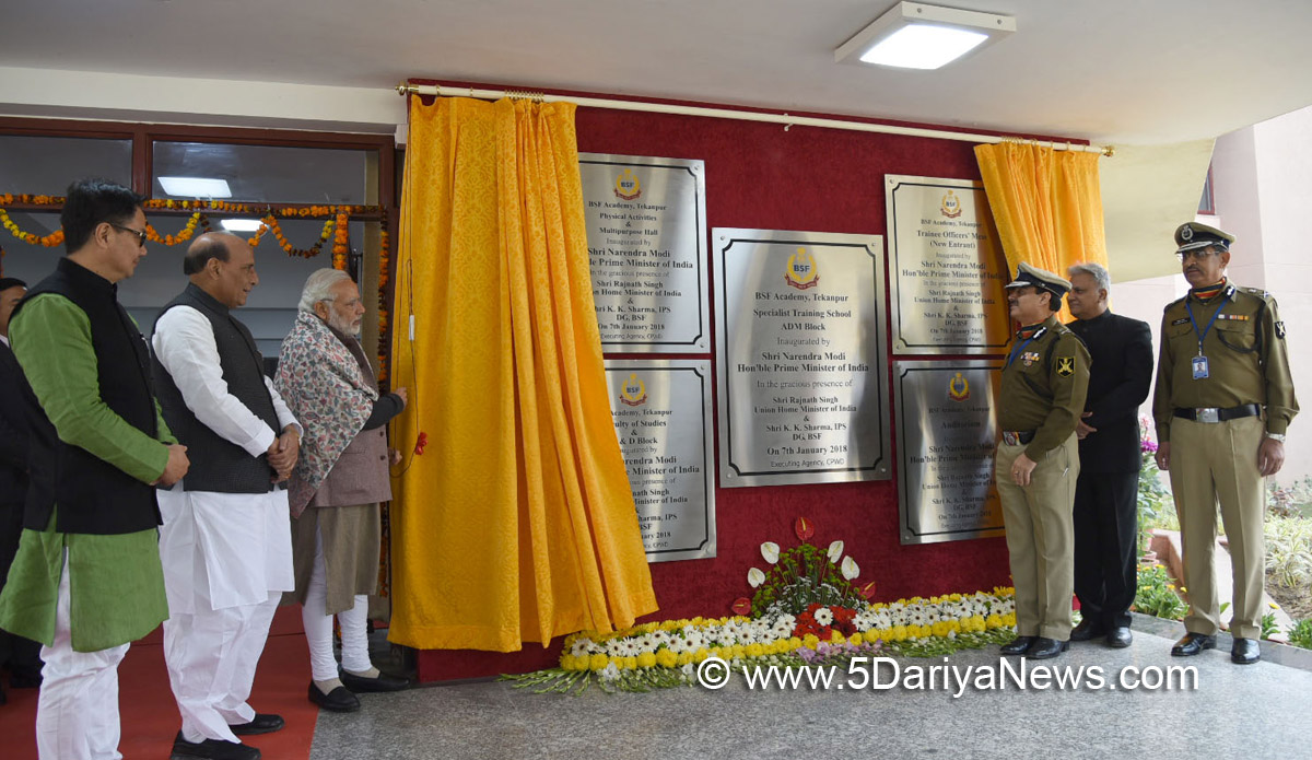 The Prime Minister, Shri Narendra Modi unveiled the plaques to mark the inauguration of five new buildings at the BSF Academy, during the Annual Conference of DGPs and IGPs, at Tekanpur, Madhya Pradesh. on January 07, 2018. The Union Home Minister, Shri Rajnath Singh and the Minister of State for Home Affairs, Shri Kiren Rijiju are also seen.