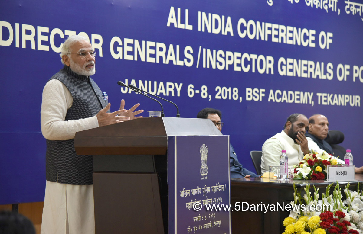 The Prime Minister, Shri Narendra Modi addressing the Valedictory Ceremony at DGP/IGP Conference, at Tekanpur, in Madhya Pradesh on January 08, 2018.