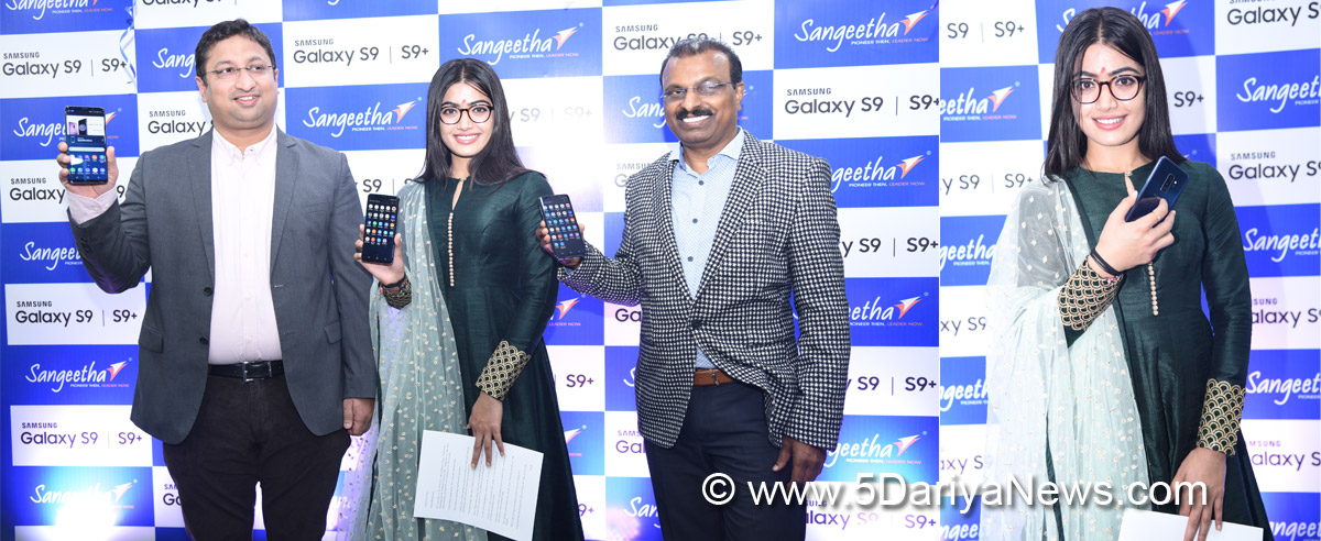 Actress Rashmika Mandanna unveils the Samsung Galaxy S9 at the Sangeetha Mobiles store in J P Nagar, Bengaluru. Also present were Prashanth Mani (left) Senior Director, Samsung Mobiles and Subhash Chandra L, Managing Director, Sangeetha Mobiles