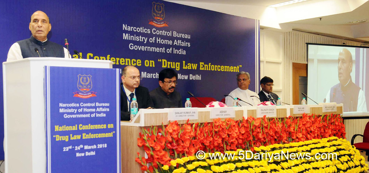 The Union Home Minister, Shri Rajnath Singh addressing at the Closing Ceremony of the 2-day National Conference on Drug Law Enforcement, organised by Narcotics Control Bureau (NCB), MHA, in New Delhi on March 24, 2018.