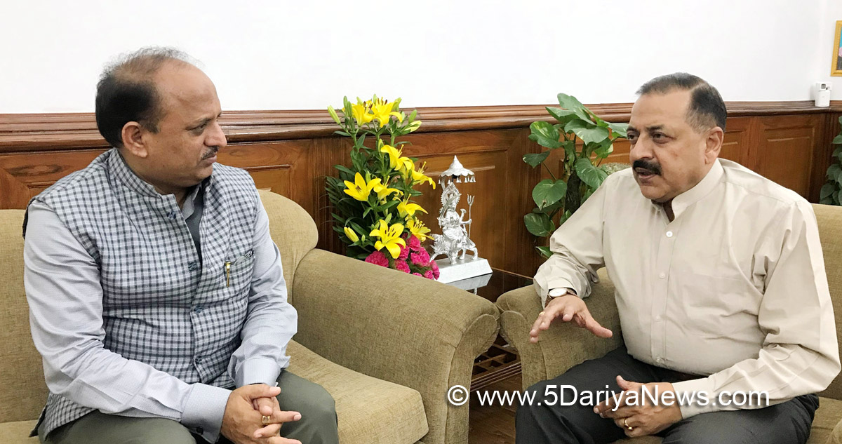 The Health Minister of Jammu and Kashmir, Dr. Devinder Kumar Manyal calling the Minister of State for Development of North Eastern Region (I/C), Prime Minister's Office, Personnel, Public Grievances & Pensions, Atomic Energy and Space, Dr. Jitendra Singh, in New Delhi on May 16, 2018.