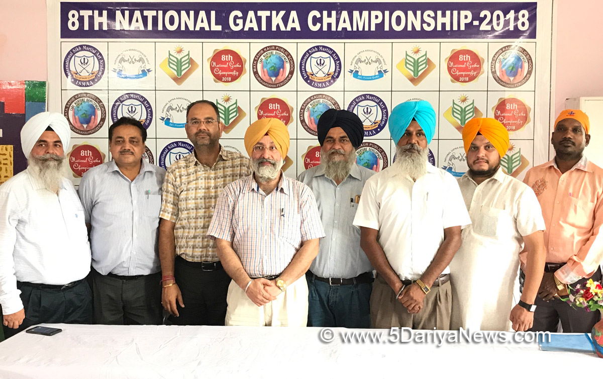 National Gatka Association of India president Harjeet Singh Grewal and other office bearers interacting with media at Guru Harsahai.