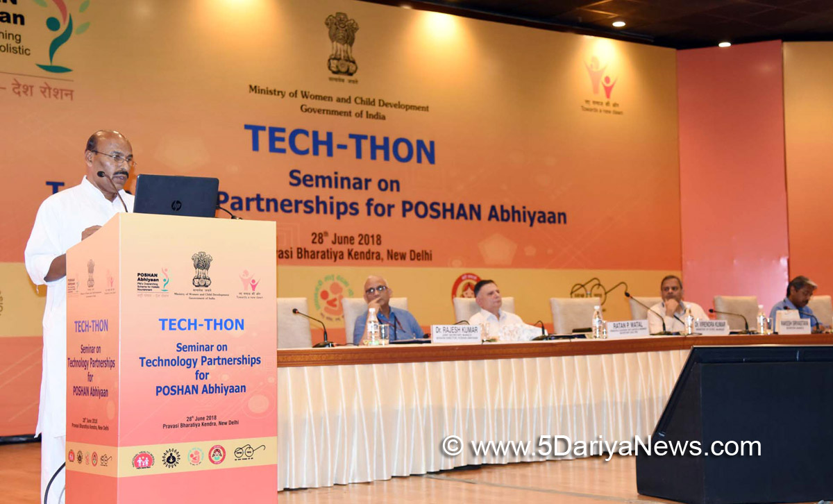 The Minister of State for Women & Child Development and Minority Affairs, Dr. Virendra Kumar addressing at the closing ceremony of a Seminar on Technology Partnerships for POSHAN Abhiyaan - 'TECH-THON', organised by the Ministry of Women and Child Development, in New Delhi on June 28, 2018.