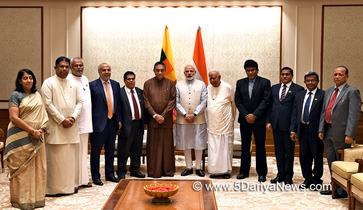 The Prime Minister, Shri Narendra Modi with a delegation led by the Speaker of the Sri Lankan Parliament, Mr. Karu Jayasurya, in New Delhi on September 10, 2018.