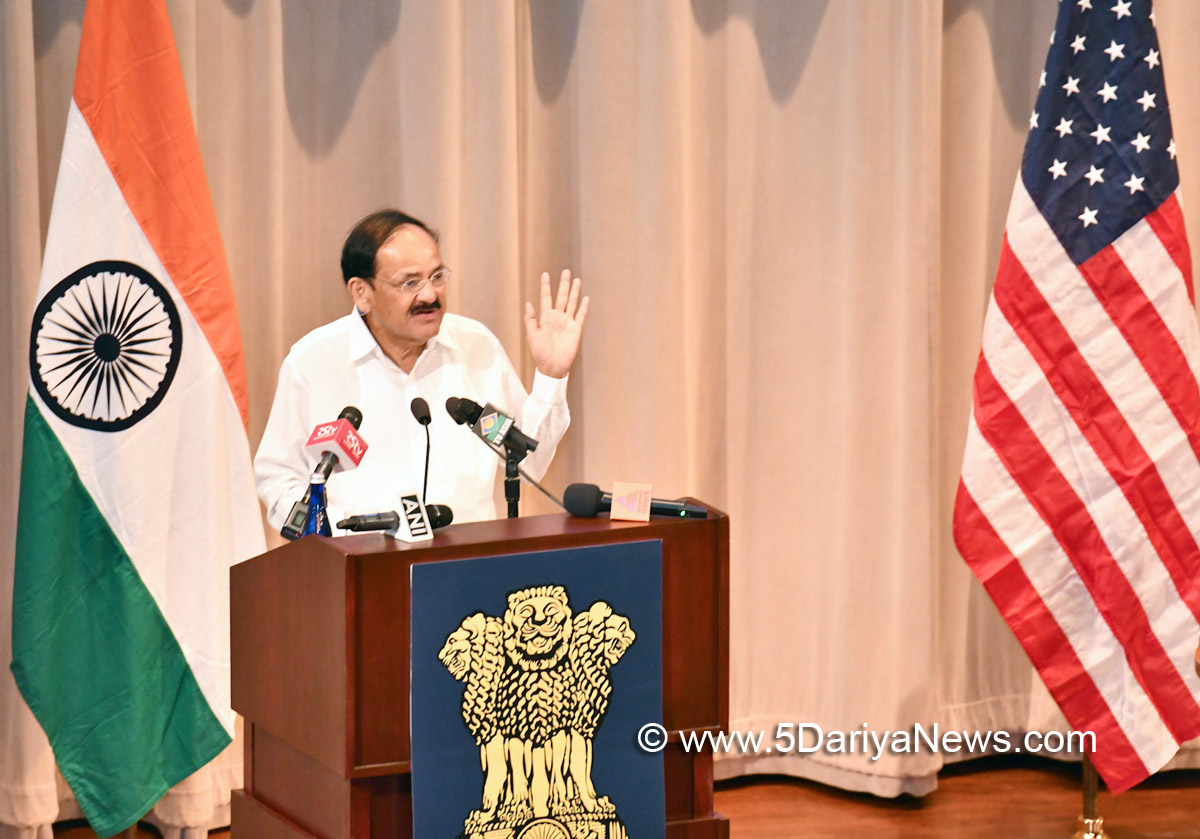 The Vice President, Shri M. Venkaiah Naidu addressing the Indian Community, at the Historic Art Institute of Chicago, the place where Swami Vivekananda delivered his speech in 1893, in Chicago, USA on September 09, 2018.