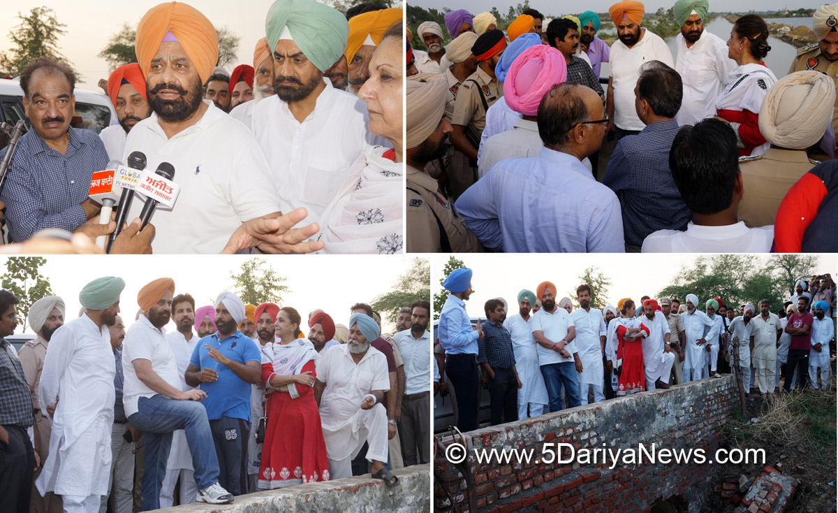 Punjab Water Resources Minister Sarkaria Visits Sutlej, Beas And Drains To Take Stock Of Situation