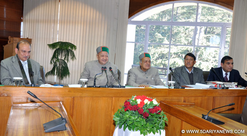 Chief Minister, Virbhadra Singh presiding over the meeting of HP State Board for Wildlife at Shimla today.
