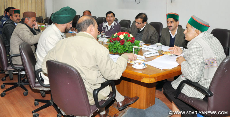 Forest Minister, Thakur Singh Bharmauri presiding over a BoD meeting of H P Forest Development Corporation at Shimla, today.