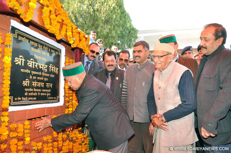 Chief Minister, Shri Virbhadra Singh  laying foundation Stone  of GSSS Tihri in Jwalamukhi assembly constituency today.