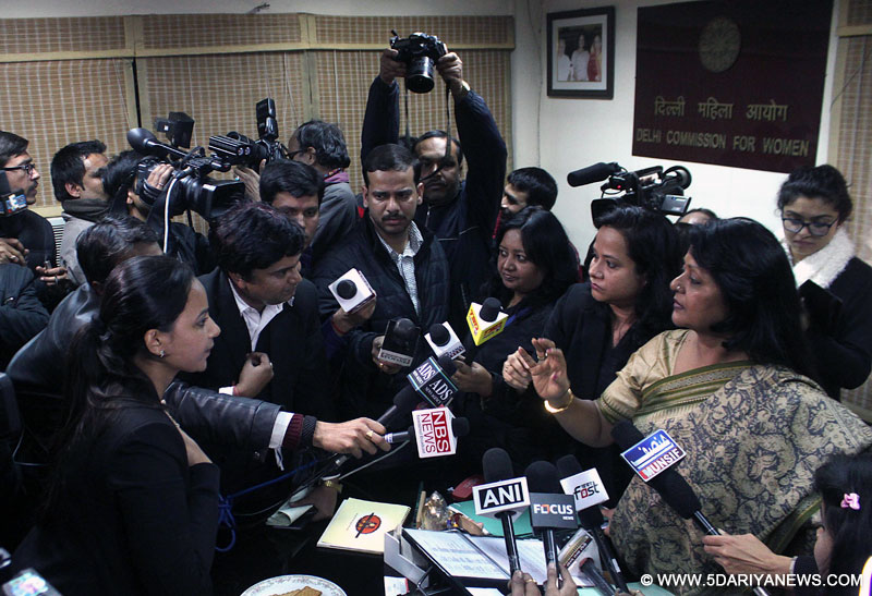 Chaos at Delhi Commission For Women as Delhi Law Minister did not appear before the commission in person, in New Delhi on Jan.24, 2014.
