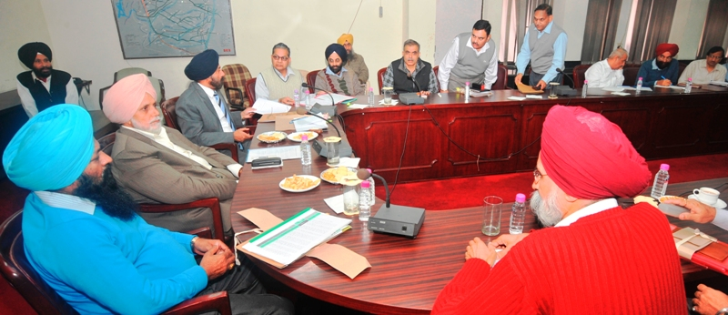 Mr. Janmeja Singh Sekhon, Irrigation Minister, Punjab is presiding over a high level review meeting of Irrigation Department on 21-11-2012 at Chandigarh. Mr. Sohan Singh Thandal, Chief Parliamentary Secretary and Mr. K.B.S Sidhu, Principal Secretary also seen in the picture.