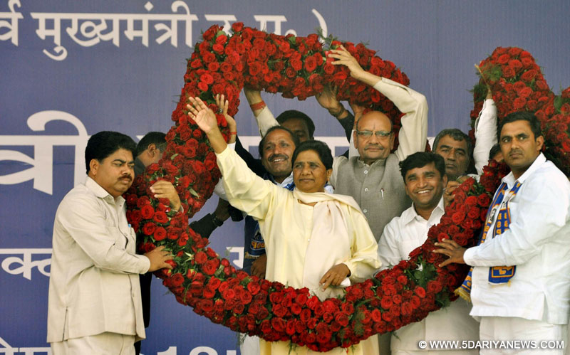 Bahujan Samaj Party (BSP) chief Mayawati during a rally in Gurgaon on March 25, 2014.