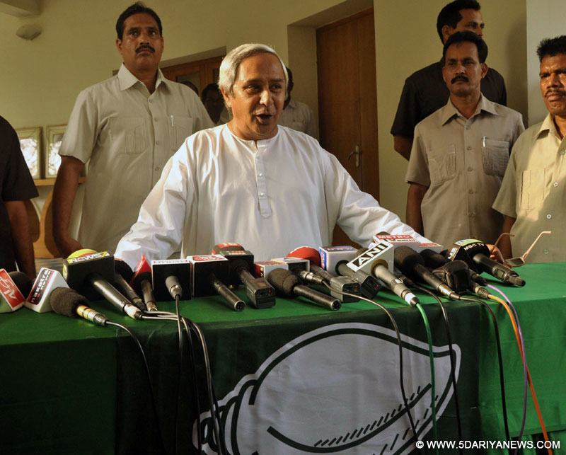 Odisha Chief Minister and BJD chief Naveen Patnaik addresses a press conference regarding his party
