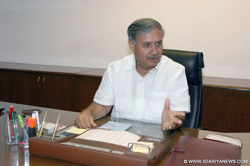 Rao Inderjit Singh taking charge as the Minister of State for Defence, in New Delhi on May 29, 2014.
