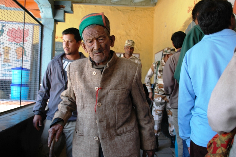 The first voter of post independent India, Shri Shyam Saran Negi on way to cast his vote at Kalpa polling Booth in District Kinnaur today.