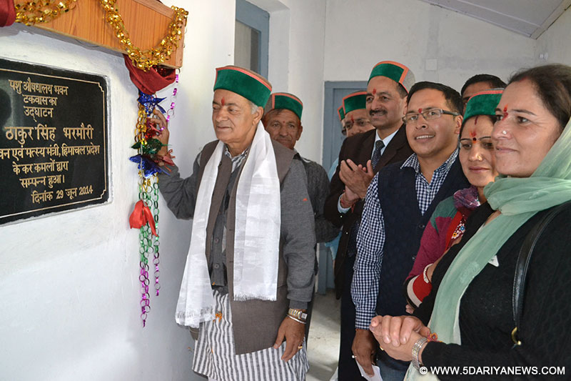 Forest Minster  Thakur  Singh Bharmouri  inaugurating  veterinary  Dispensary at Takvas in Pangi subdivision of Chamba District today.