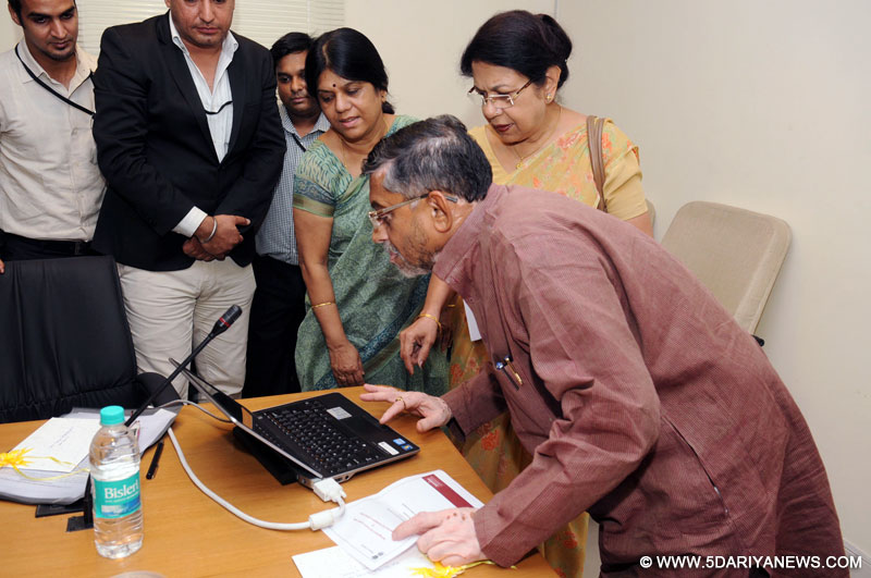 Santosh Kumar Gangwar launching the MIS portal of Integrated Skill Development Scheme, in New Delhi on July 30, 2014.