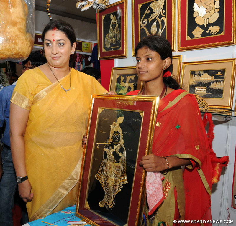 Smriti Irani going round the exhibition on literacy and livelihood – 'KRITI' organised by the National Literacy Mission Authority, in New Delhi on September 06, 2014.
