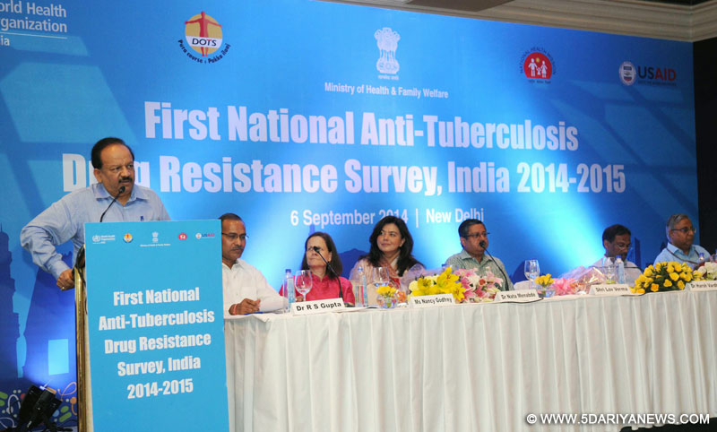 "Dr. Harsh Vardhan addressing at the launch of the ""First National Anti-Tuberculosis Drug Resistance Survey, India 2014-2015"", in New Delhi on September 06, 2014."
