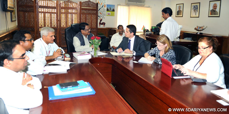 Australian Parliament delegation calling on the Union Minister for Tribal Affairs, Jual Oram, in New Delhi on October 27, 2014.