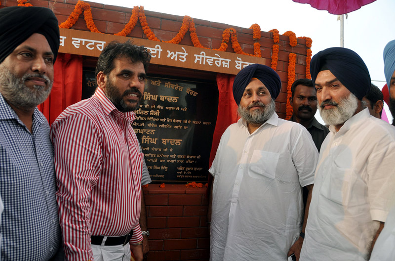 Sukhbir Singh Badal, Deputy Chief Minister Punjab inaugurating sewerage treatment plant at Zirakpur on 27-9-13.